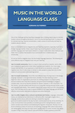 Music in the World Languags Class