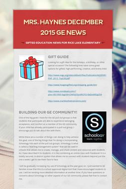 Mrs. Haynes December 2015 GE News