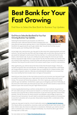 Best Bank for Your Fast Growing