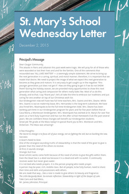 St. Mary's School Wednesday Letter