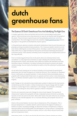 dutch greenhouse fans