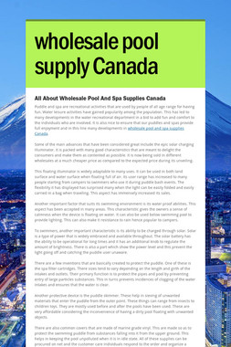 wholesale pool supply Canada