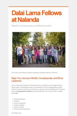 Dalai Lama Fellows at Nalanda
