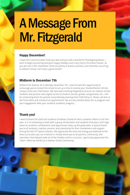 A Message From Mr. Fitzgerald