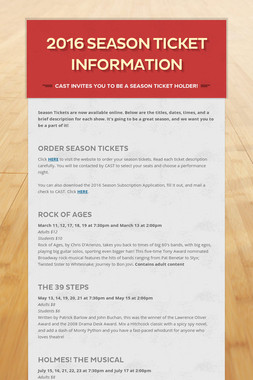 2016 Season Ticket Information