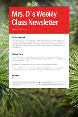 Mrs. D's Weekly Class Newsletter