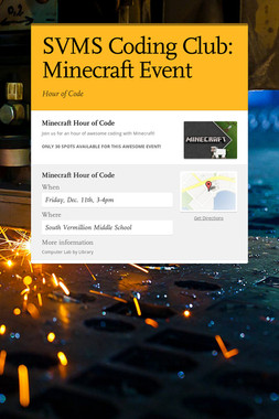 SVMS Coding Club: Minecraft Event