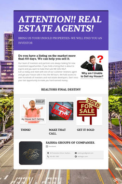 ATTENTION!! REAL ESTATE AGENTS!