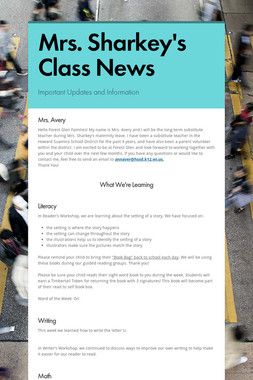 Mrs. Sharkey's Class News