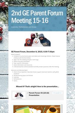 2nd GE Parent Forum Meeting 15-16