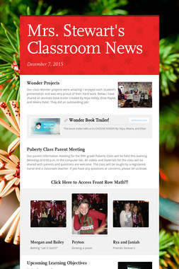 Mrs. Stewart's Classroom News