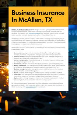 Business Insurance In McAllen, TX