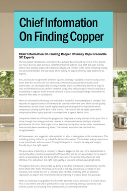 Chief Information On Finding Copper