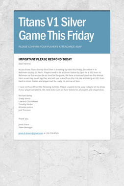 Titans V1 Silver Game This Friday