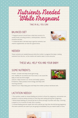 Nutrients Needed While Pregnant