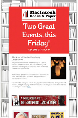 Two Great Events, this Friday!