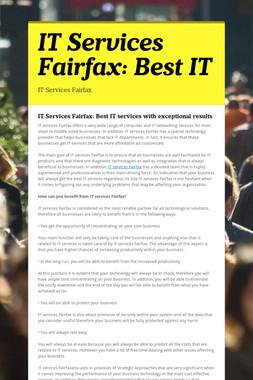 IT Services Fairfax: Best IT