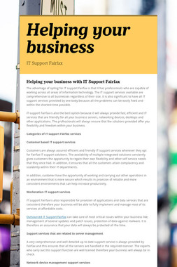 Helping your business