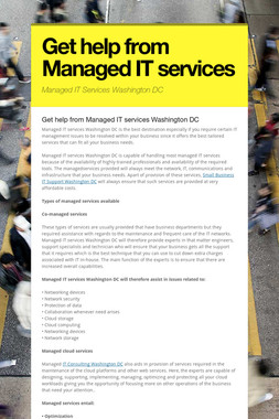 Get help from Managed IT services