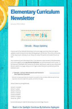Elementary Curriculum Newsletter