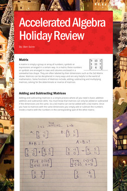 Accelerated Algebra Holiday Review