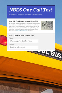 NBES One Call Test