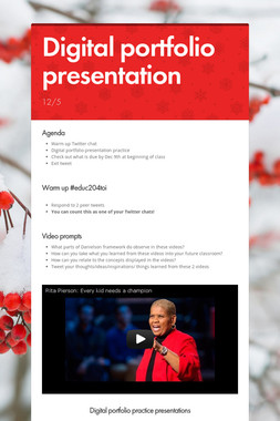 Digital portfolio presentation