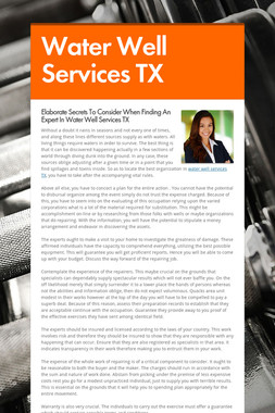 Water Well Services TX