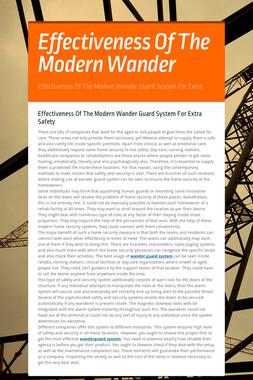 Effectiveness Of The Modern Wander