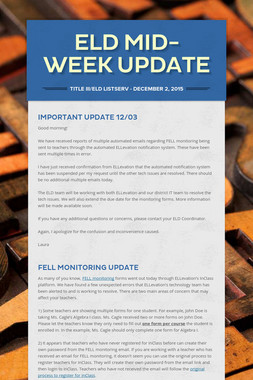 ELD Mid-Week Update
