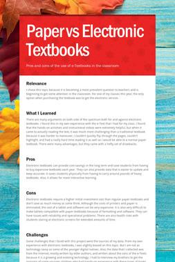 Paper vs Electronic Textbooks