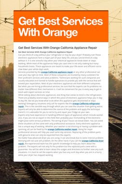Get Best Services With Orange