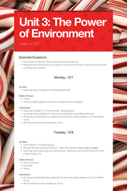 Unit 3: The Power of Environment