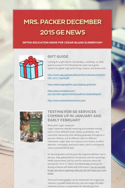 Mrs. Packer December 2015 GE News
