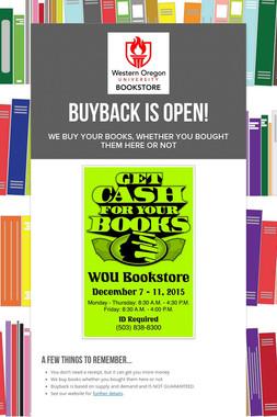 Buyback is Open!