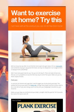 Want to exercise at home? Try this