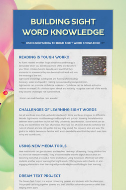 Building Sight Word Knowledge