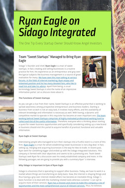 Ryan Eagle on Sidago Integrated