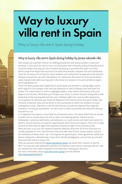 Way to luxury villa rent in Spain
