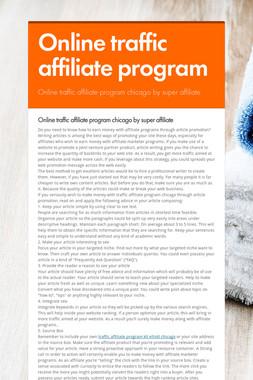 Online traffic affiliate program