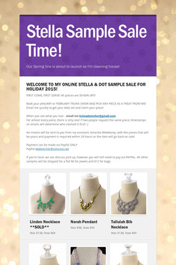 Stella Sample Sale Time!