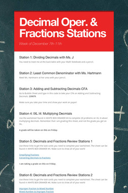 Decimal Oper. & Fractions Stations