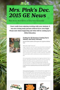 Mrs. Pink's Dec. 2015 GE News