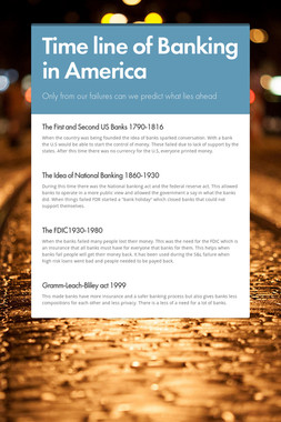 Time line of Banking in America