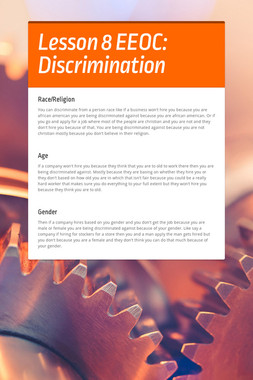 Lesson 8 EEOC: Discrimination