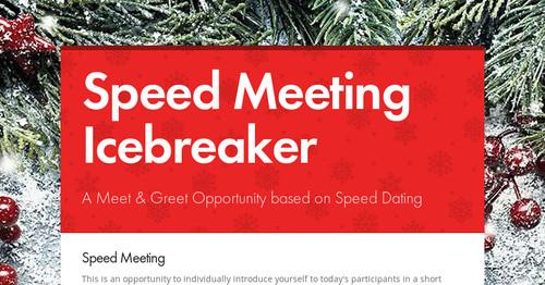 speed dating icebreaker instructions