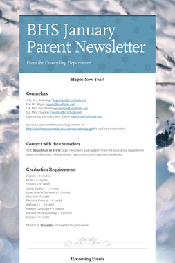 BHS January Parent Newsletter