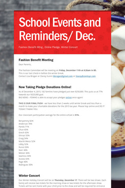School Events and Reminders/ Dec.