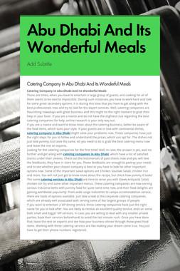 Abu Dhabi And Its Wonderful Meals