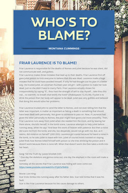 Who's to Blame?